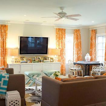 Orange Curtains, Contemporary, living room, Palmer Weiss