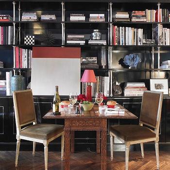 Blue Built In Cabinets, Contemporary, den/library/office, Farrow & Ball Hague Blue, Miles Redd