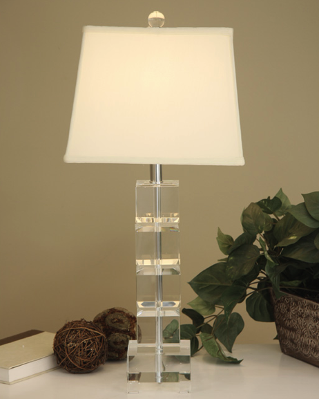Bon Overstock Crystal Square Table Lamp View Full Size