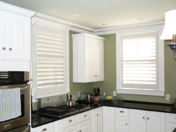 Kitchen Green Kitchen, White Plantation Shutters, White Cabinets, Black  Countertops Part 78