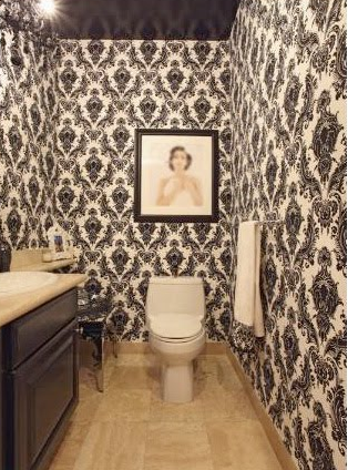 Black And White Flokced Wallpaper Transitional Bathroom
