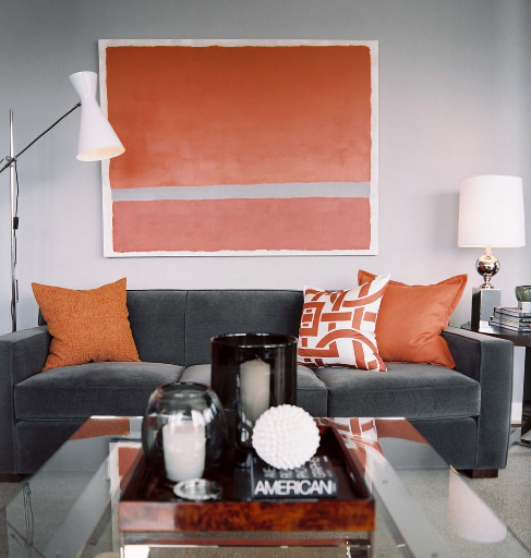 steel gray and persimmon orange living room colors - Orange Living Room Design