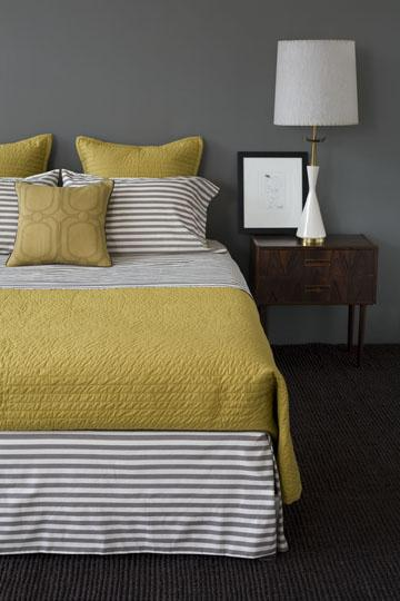 Yellow And Gray Contemporary Bedroom