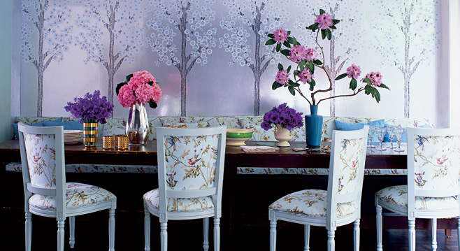 Purple Metallic Wallpaper Eclectic Dining Room Elle