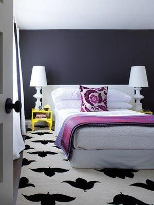 black and white rug contemporary bedroom house home. Black Bedroom Furniture Sets. Home Design Ideas