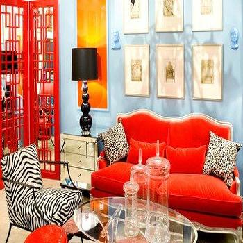 Red Velvet Sofa, Eclectic, living room