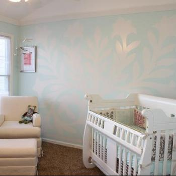 Nursery Wall Mural, Transitional, nursery, Sherwin Williams Bouyant Blue