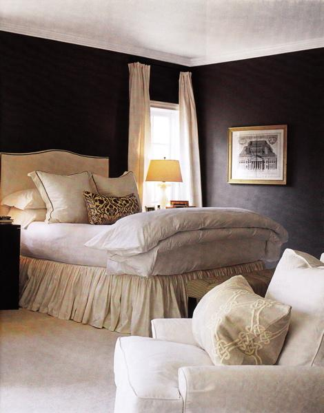 Ivory drapes design ideas for Cream and black bedroom designs