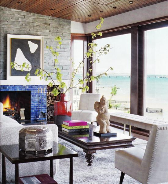 Subway Tile Living Room Interior: Blue Fireplace Tiles