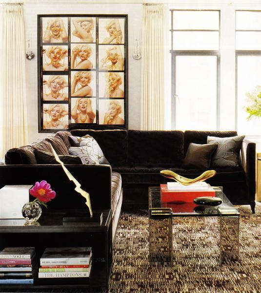 Brown velvet sectional transitional living room