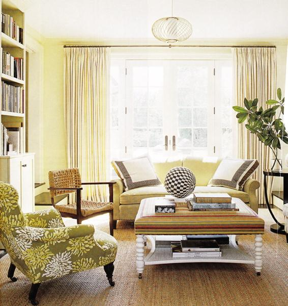 Yellow couch cottage living room for Brown green and cream living room ideas