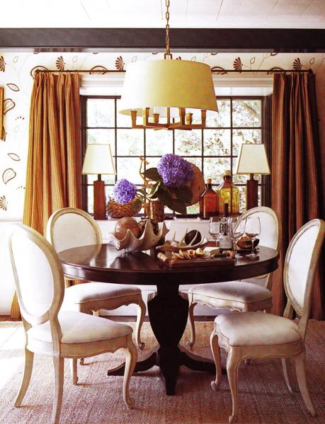Warm Vibrant Dining Room Colors Burnt Orange Design With Pumpkin Drapes Curtains White Buffet Ceramic Lamps