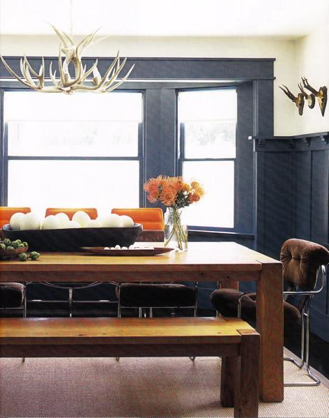 Rustic Modern Dining Room Space Blue Orange Design With White Faux Antler Chandelier Wood Table Bench