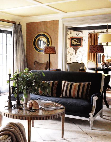 Cozy Navy Blue And Brown Living Room Space