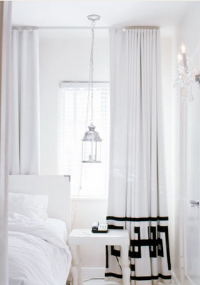 Marvelous Halli Burton B And W Bedroom   Stark White Bedroom With White Drapes, White  Headboard, White Table And White Drapes With Greek Key Design.