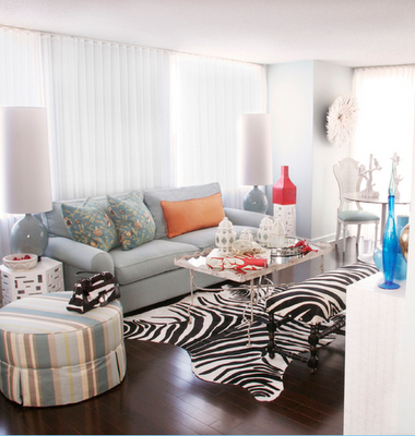 Zebra bench transitional living room michelle williams for Living room ideas with zebra rug