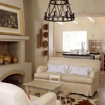 Tiered Oval Coffee Table Transitional Living Room