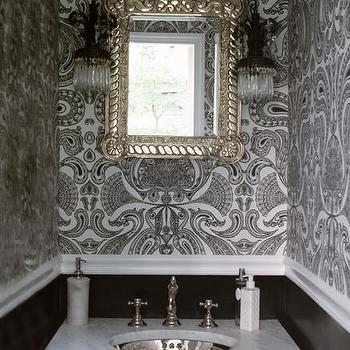 Flocked Wallpaper, Transitional, bathroom, Lori Graham Design