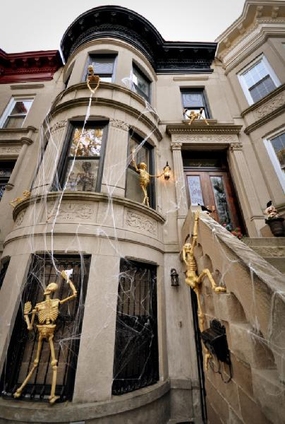 Halloween Decor Transitional Home Exterior Brooklyn