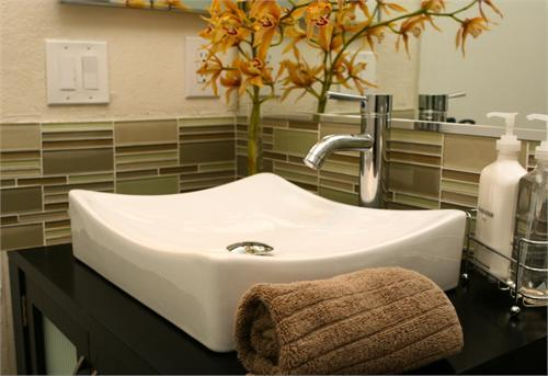 Glass Tile Green Glass Tiles White Vessel Sink Polished Chrome Faucet And Orange Accents