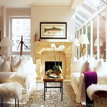 Sofas Facing Each Other, Transitional, living room, House Beautiful