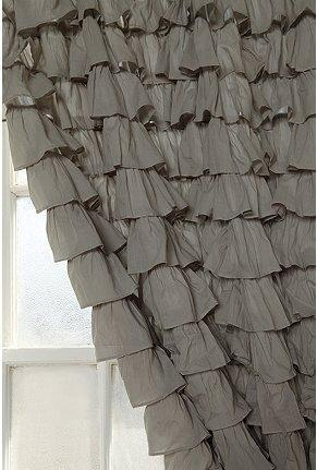 UrbanOutfitters Gray Waterfall Ruffle Drapes