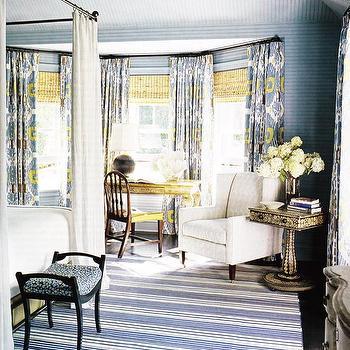 Blue Yellow Gray Bedroom, Cottage, bedroom