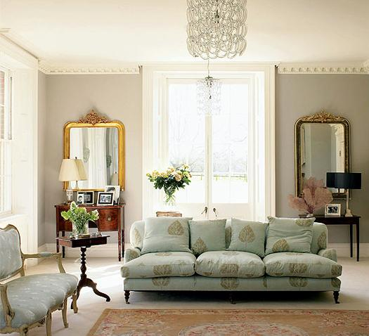 Aqua sofa transitional living room for French chic living room