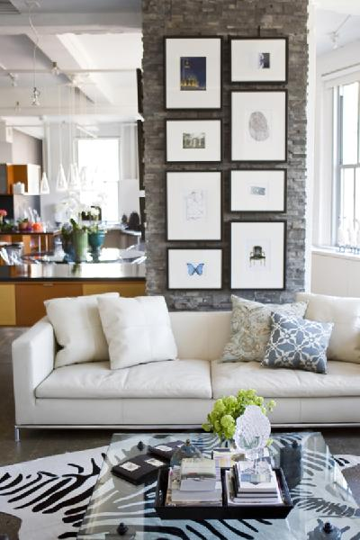 Perfect Chic, Modern Loft Living Room Design With White Modern Sofa, Blue Throw  Pillows, Square Glass Top Coffee Table, Exposed Brick Walls, Cowhide Zebra  Rug, ...