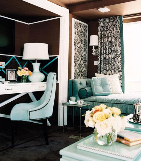 Turquoise Settee, Contemporary, den/library/office, Traditional Home