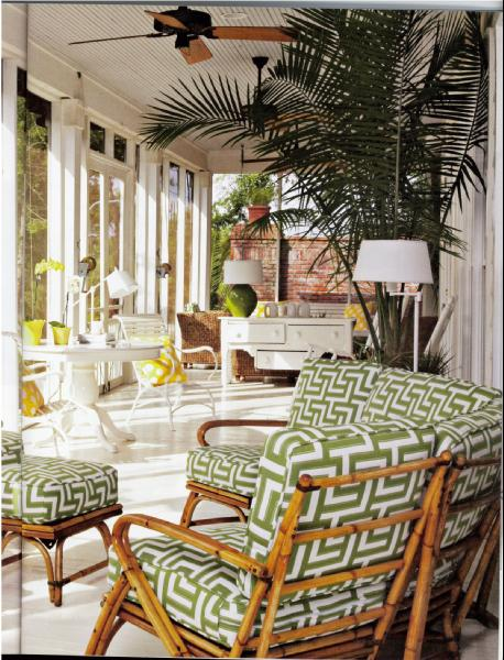 Enclosed Porch   White, Yellow And Green   Bright! Coastal Living · Black  Wicker Furniture