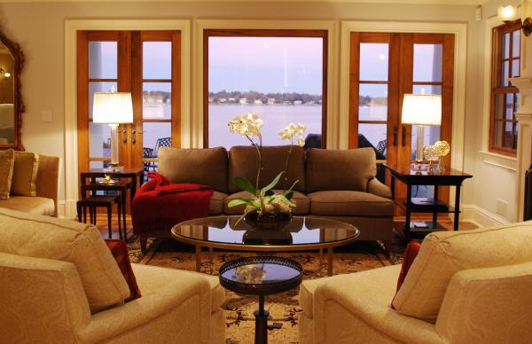 Brown Linen Sofa Transitional Living Room Teresa Meyer Interiors