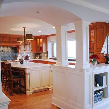 KItchen Pass Through, Transitional, kitchen, Benjamin Moore Oystershell, Teresa Meyer Interiors