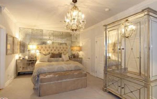 Kim s bedrooom 2 Mirrored armoire  mirrored nightstands  tufted bed and  crystal chandelier. Mirrored Nightstands Design Ideas