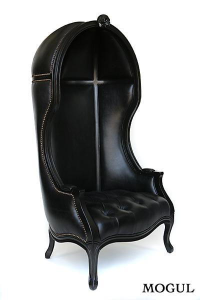 Mogul Black Leather Balloon Chair