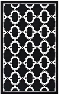 clasp geometrical black white indoor outdoor rug