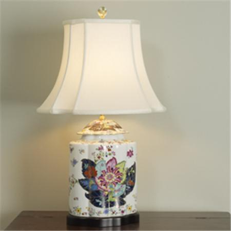 Tobacco Leaves Porcelain Table Lamp, Shades of Light