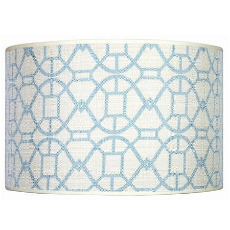 Delightful Aqua Blue White Geometrical Lamp Shade