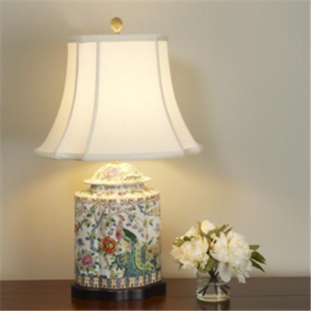 Floral Peacock Porcelain Table Lamp