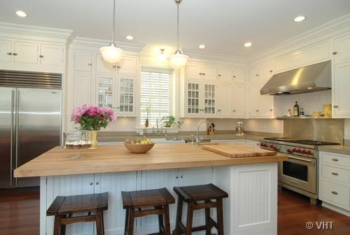 White Kitchen Butcher Block : White Kitchen Cabinets with Butcher Block Countertops - Traditional - kitchen