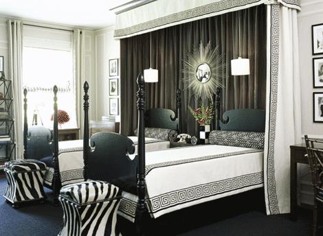 Greek Key Bedroom Twin Black Poster Beds, White Black Greek Key Bedding,  Black White Geometric Bolster Pillows, Zebra Print Ottomans, Silver  Sunburst Mirror ...