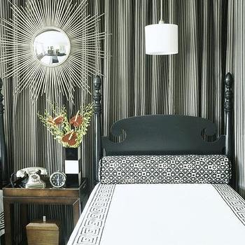 Curtains Behinds Headboard, Eclectic, bedroom, Traditional Home
