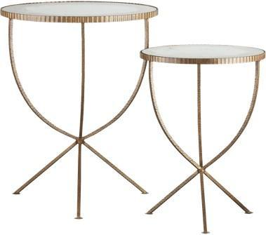 High Quality Jules Round Rippled Gold Tripod Table Set