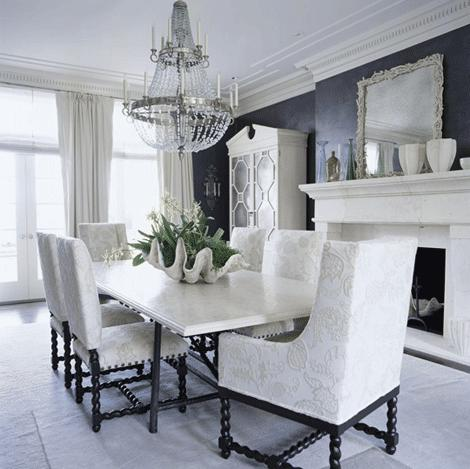 Dining room for Black and white living and dining room