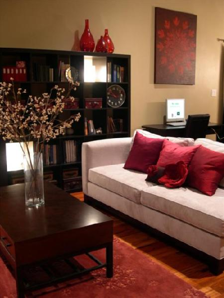 Living room - Gray and red living room ideas ...