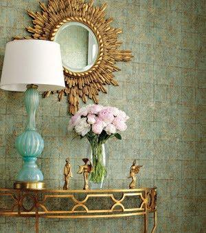 Turquoise Lamp Eclectic entrancefoyer Thibaut Design