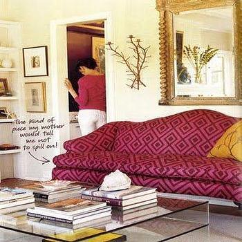 Slipcovered Camelback Sofa Contemporary Living Room