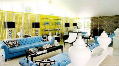 Hollywood Regency, Blue, Tufted, Chesterfield, Sofas, White Ginger Jars,  Chrome Lamps With Black Shades, Stone Fireplace And Yellow Walls. Part 57