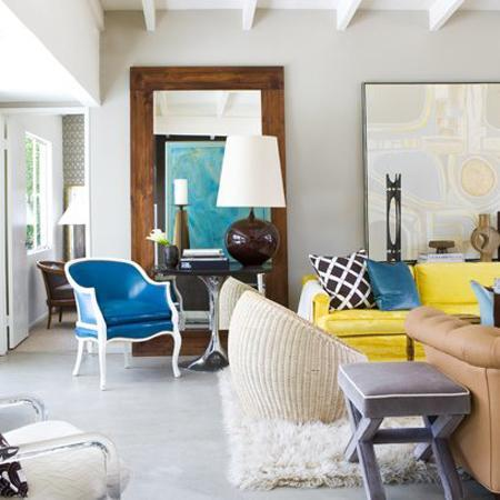 Yellow Sofa Contemporary Living Room David Jimenez