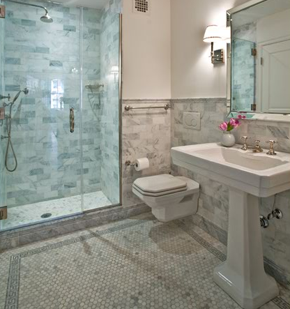 beautiful marble bathroom design with white carrara carrera hexagon marble tiles with tile border white carrara subway tiles frameless glass shower - Bathroom Tiles Marble